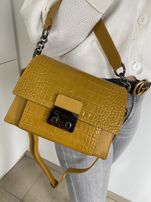 Mondieux Madame / handtas geel leder choco print