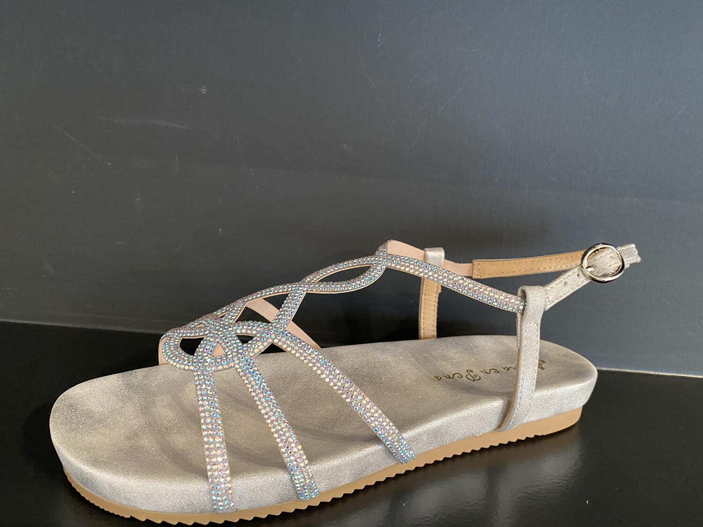 alma en pena / sandaal op voetbed plat zilver