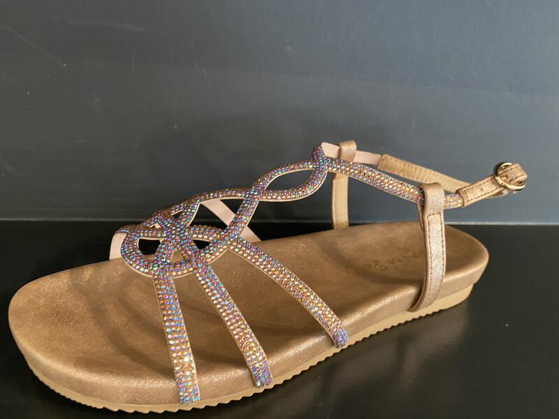 Alma en pena / sandaal brons op voetbed plat
