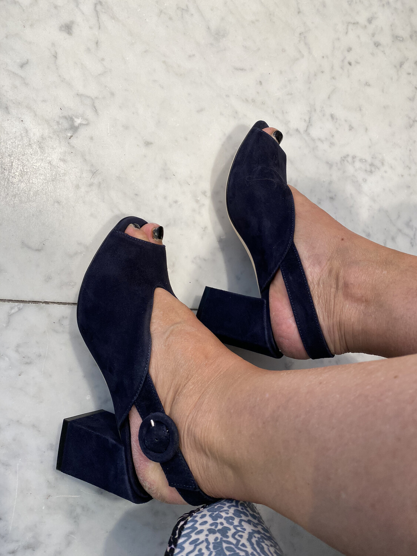 tres Jolie / sandaal donker blauw daim blokhak