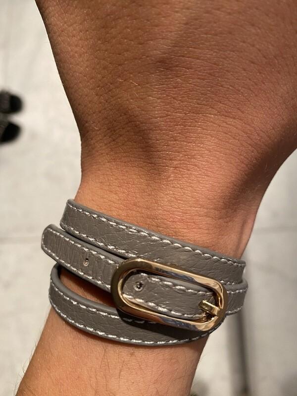 Lederen Armband Grijs