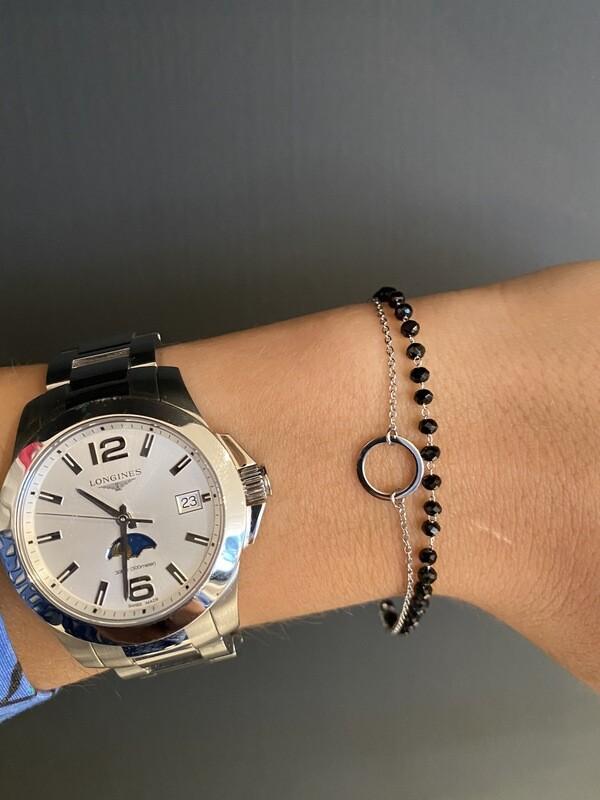 Zilveren Armband Dubbel Cirkel-Zwarte Parels