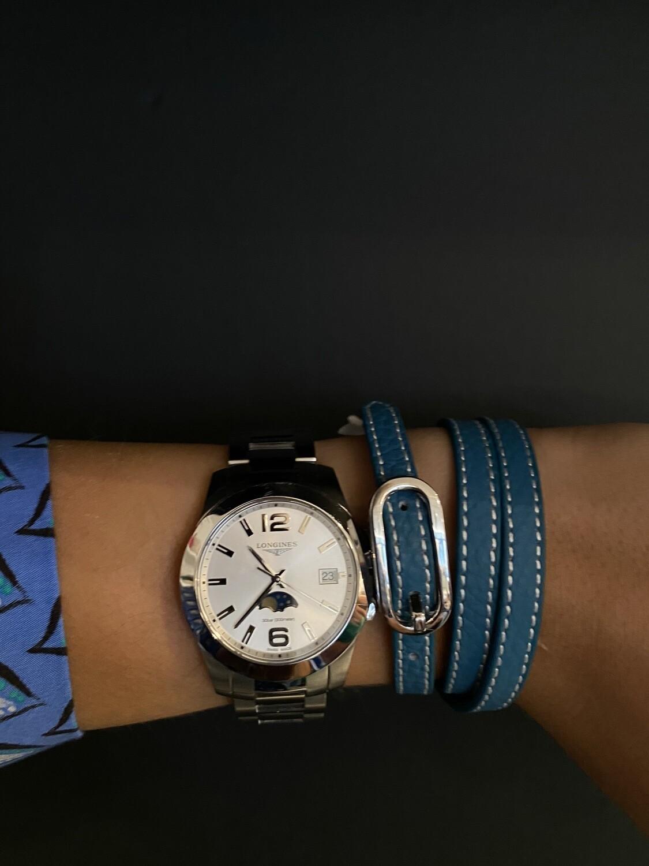 Blauwen Lederen Armband- Zilver