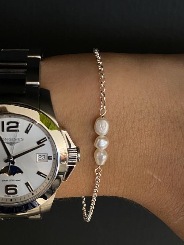 Armbandje Zilver - Witte Parlefine