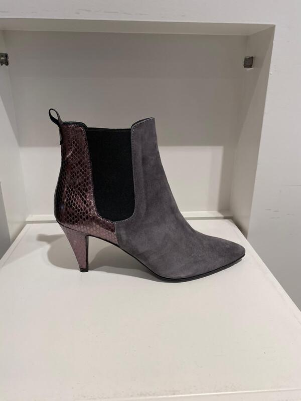 frida boot grijs daim en metallic