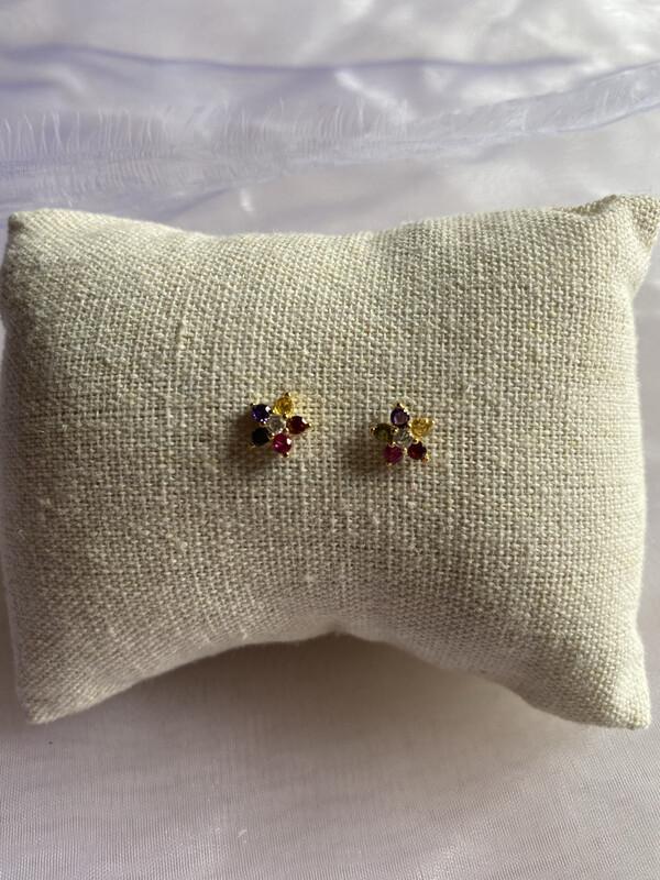 oorringen insteekmodel bloemetjes multicolor