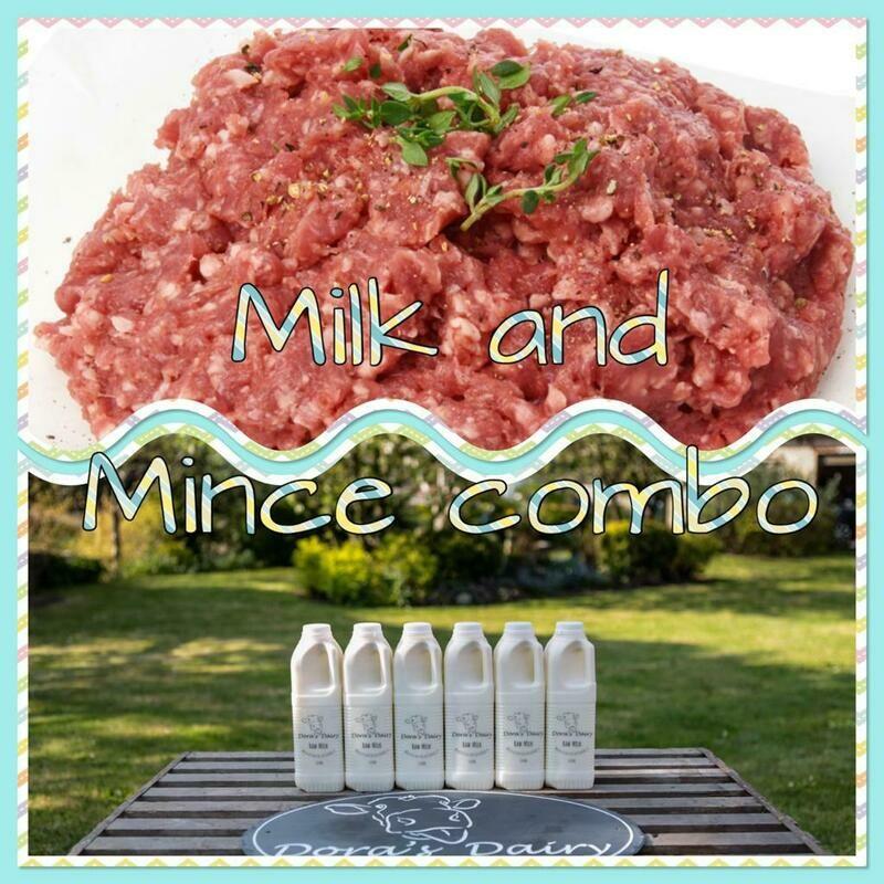 6 x 1 Litre Unpasturised Milk and Mince Beef Combo Box