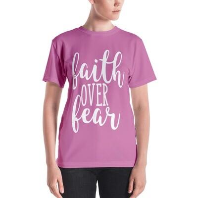 Faith Over Fear All Over Print Pink Women's T-shirt
