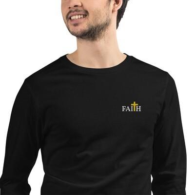 Unisex Long Sleeve Embroidered Faith Tee
