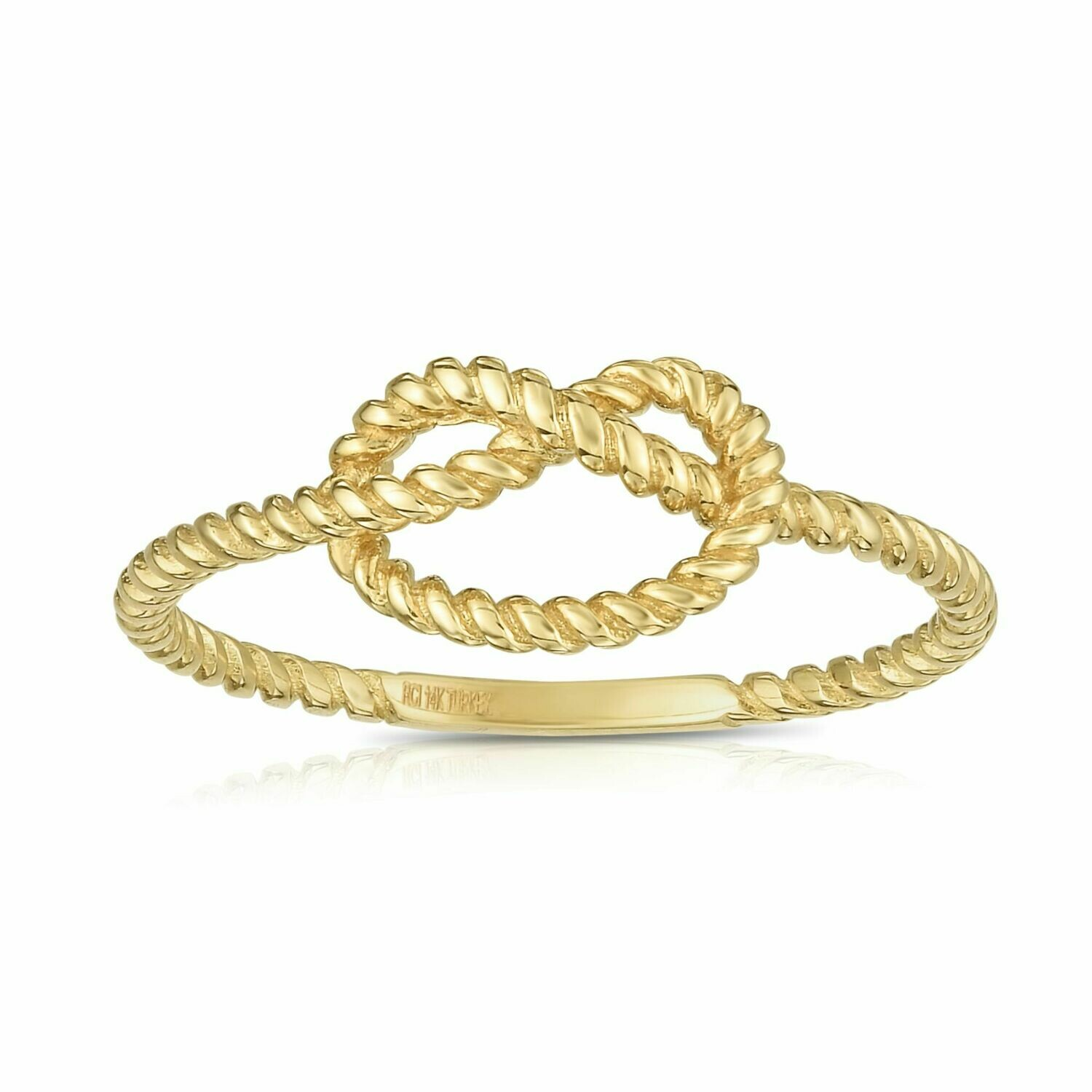 14K Gold Rope Love Knot Ring
