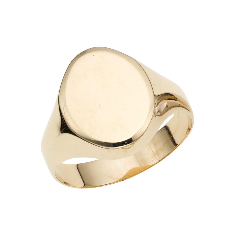 14K Gold Polished Oval Signet Ring