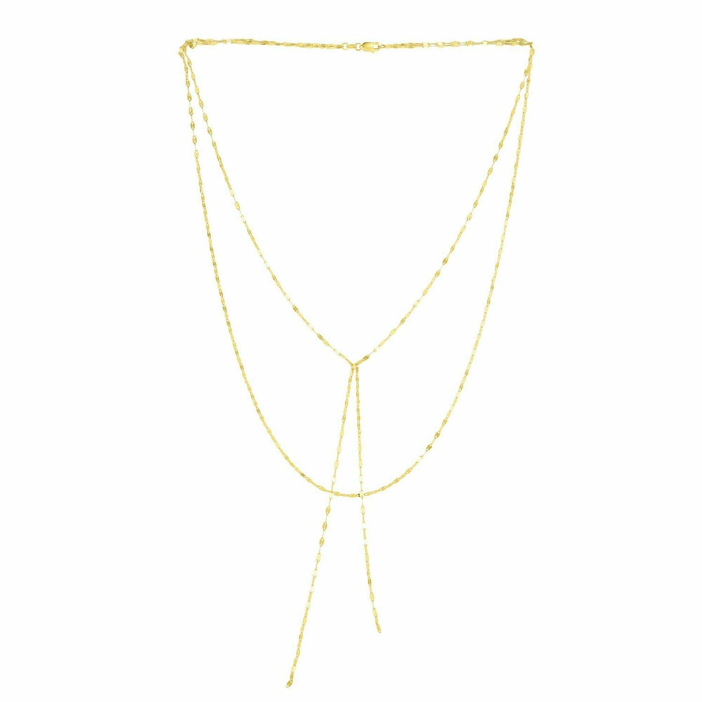 14K Gold Mirror Chain Multi-Strand Necklace