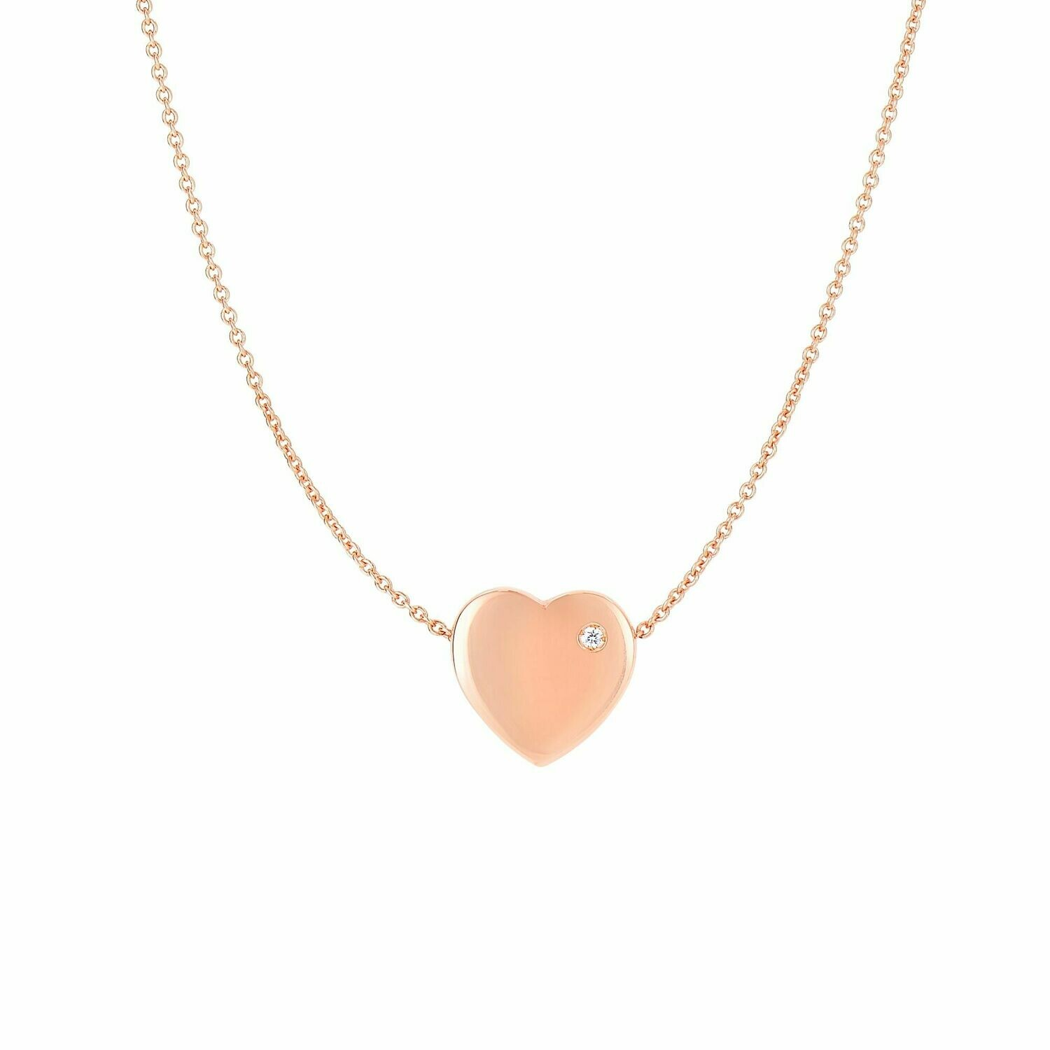 14K Gold .01ct Diamond Heart Necklace