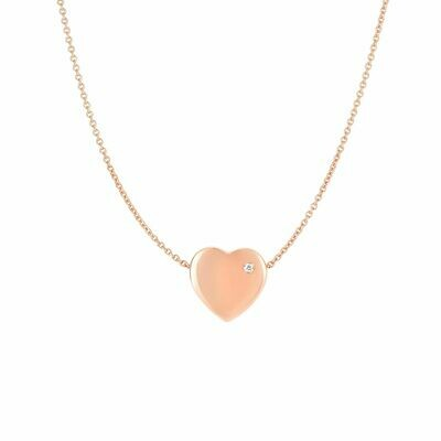 14K Gold .01ct Diamond Heart Necklace