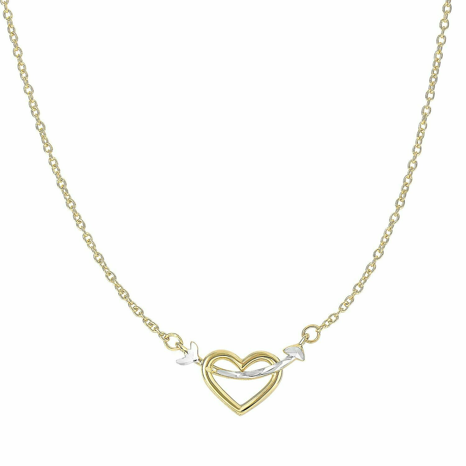 14K Gold Heart & Arrow Necklace