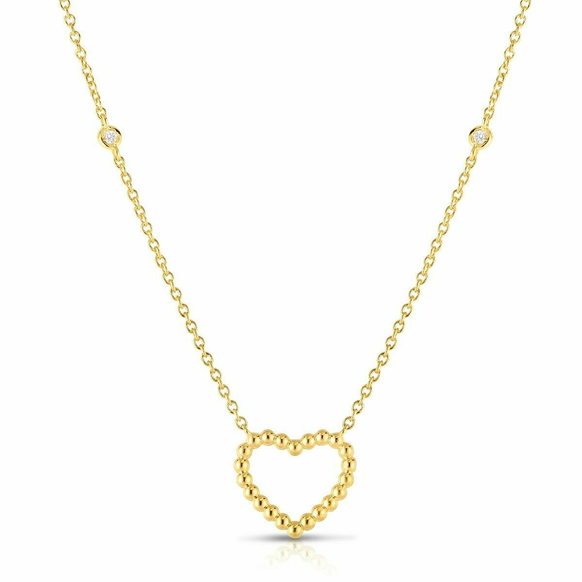 14K Gold Popcorn Heart Necklace