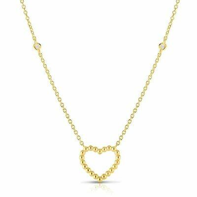 14K Gold Popcorn Heart Necklace