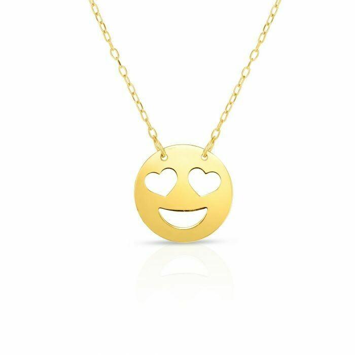 14K Gold Heart Eyes Romaji Necklace