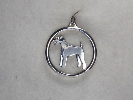 Sterling Silver Airedale Terrier Dog Charm Circle
