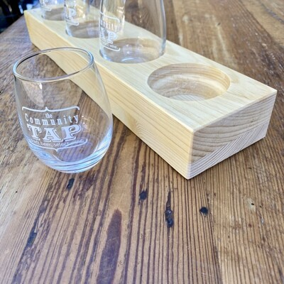 Tap Logo Taster Glass Gift Set with Wooden Base
