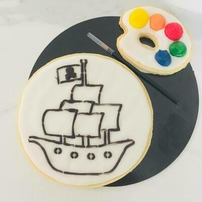 Biscuit à colorier bateau de pirate
