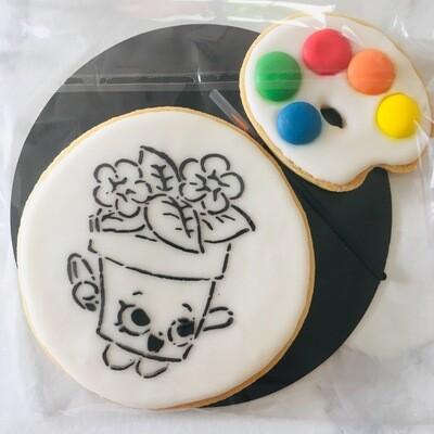 Biscuit à colorier pot de fleur