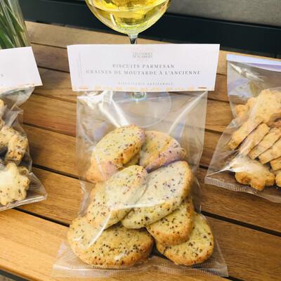 Biscuits apéritifs parmesan - graines de moutarde à l'ancienne