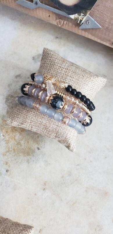 Charm Bracelet - Grey & Black