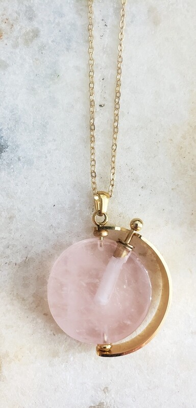Elixir Necklace 18k Gold - Rose Quartz