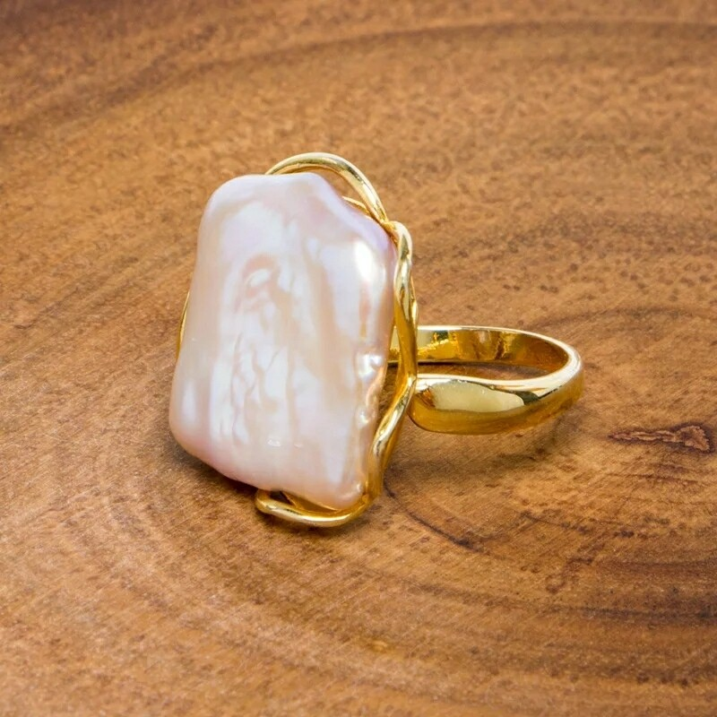 Natural Baroque Freshwater Pearl Ring, 14k Gold Plated *pre-order*