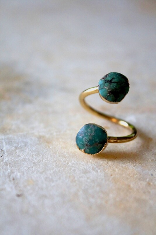 Natural Turquoise Swirl Ring