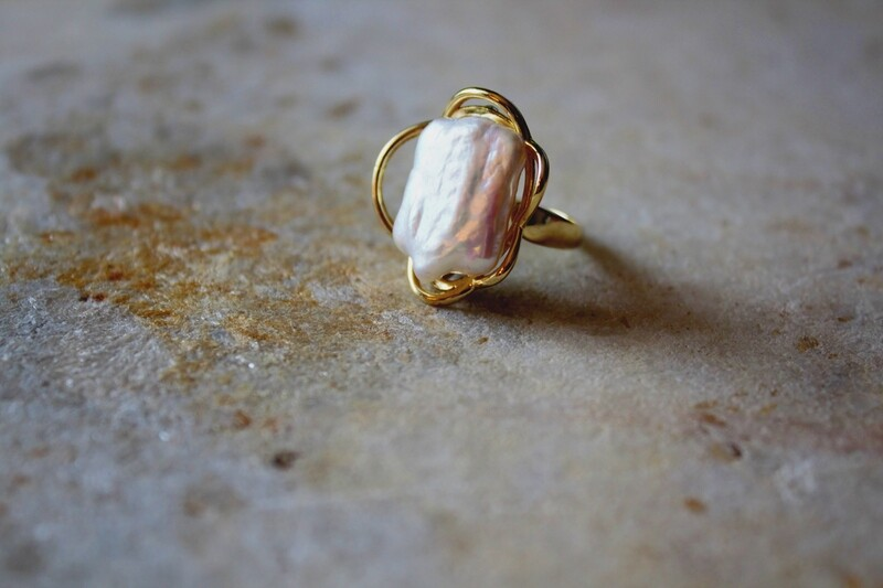 Natural Baroque Freshwater Pearl Ring, 14k Gold Plated