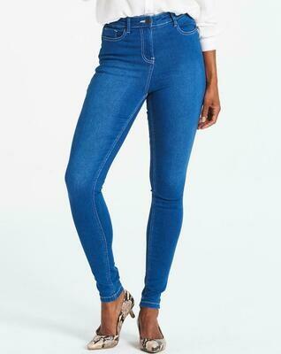 Aukšto liemens šviesios džinsinės kelnės