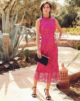 Neriniuota rožinė midi suknelė