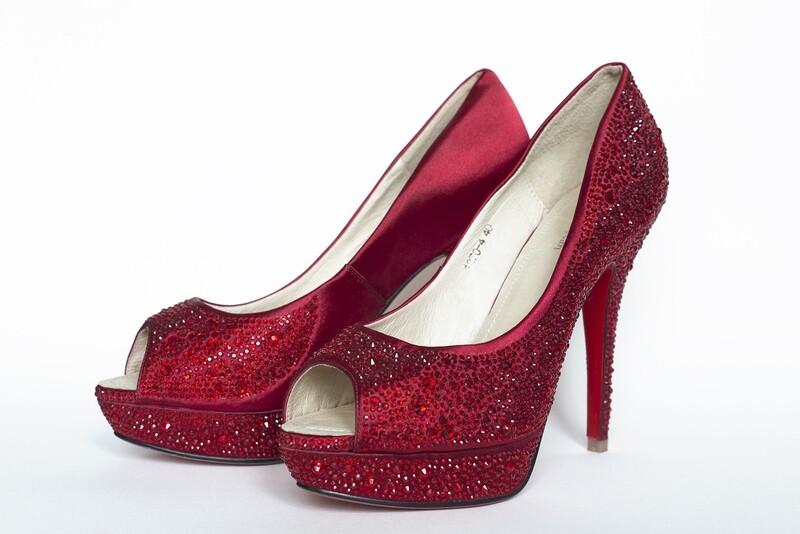 JackieJean Red Diamante Peep Toe Heels