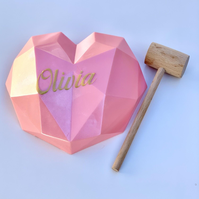 Geo Heart - Shimmer Pink