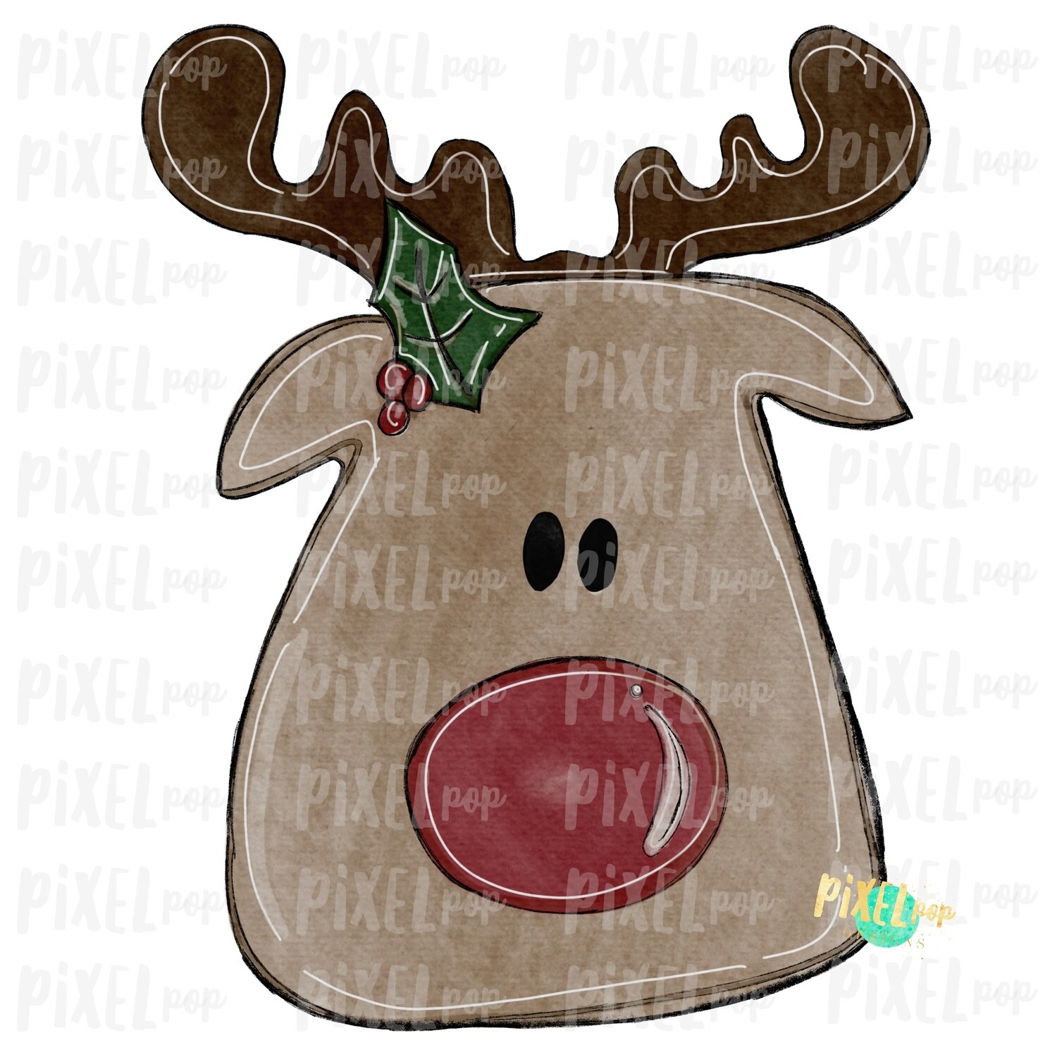 Reindeer Watercolor Sublimation Design PNG | Reindeer Art | Hand Drawn Design | Sublimation PNG | Digital Download | Printable Artwork | Art