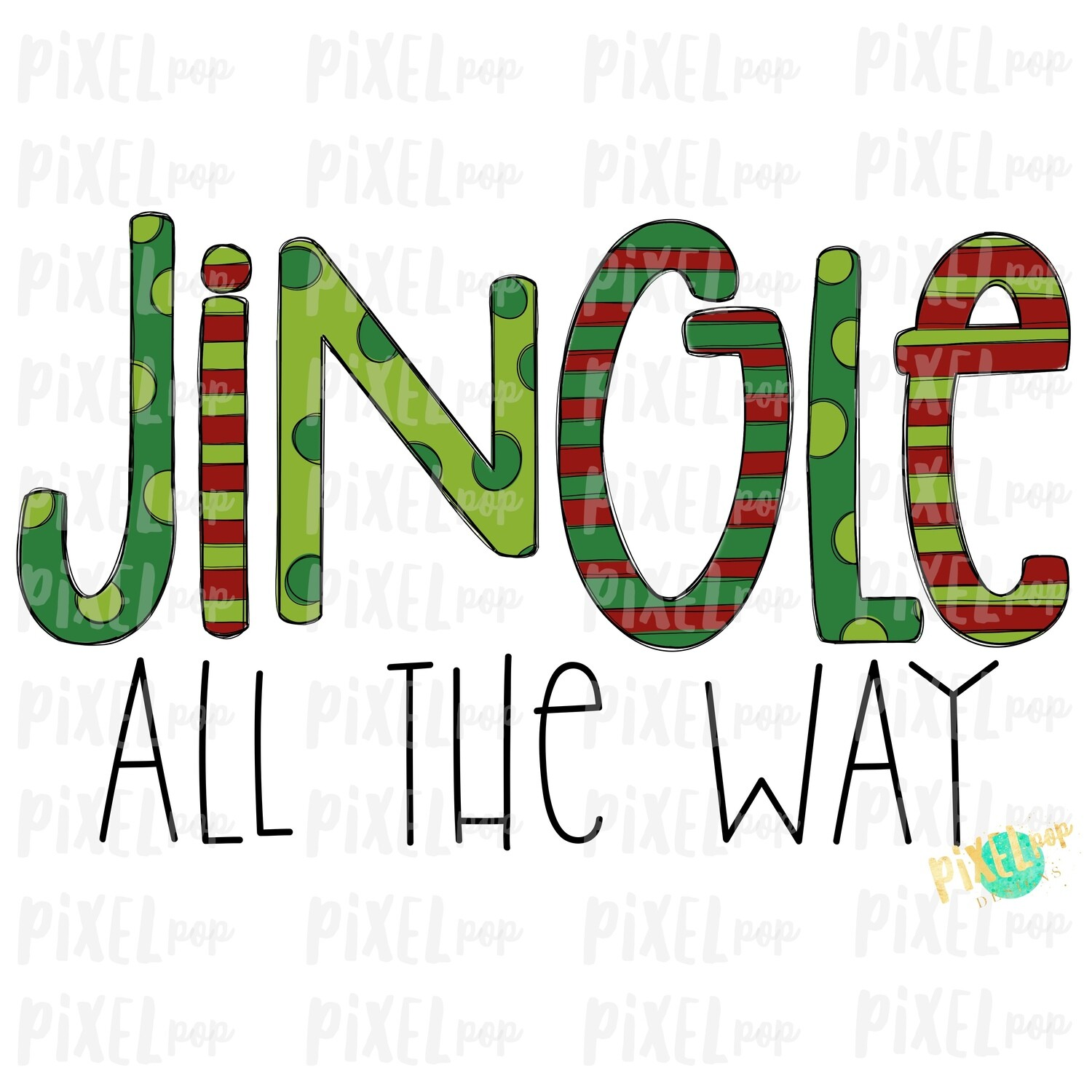Jingle All the Way Digital Art Sublimation PNG | Plaid Background | Holiday | Transfer | Digital Print | Printable | Clip Ar