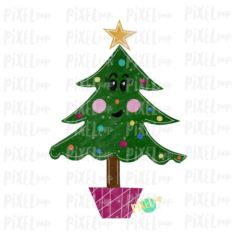 Sassy Cartoon Christmas Tree Watercolor Sublimation PNG   Hand Drawn Design   Sublimation PNG   Digital Download   Printable Artwork   Art