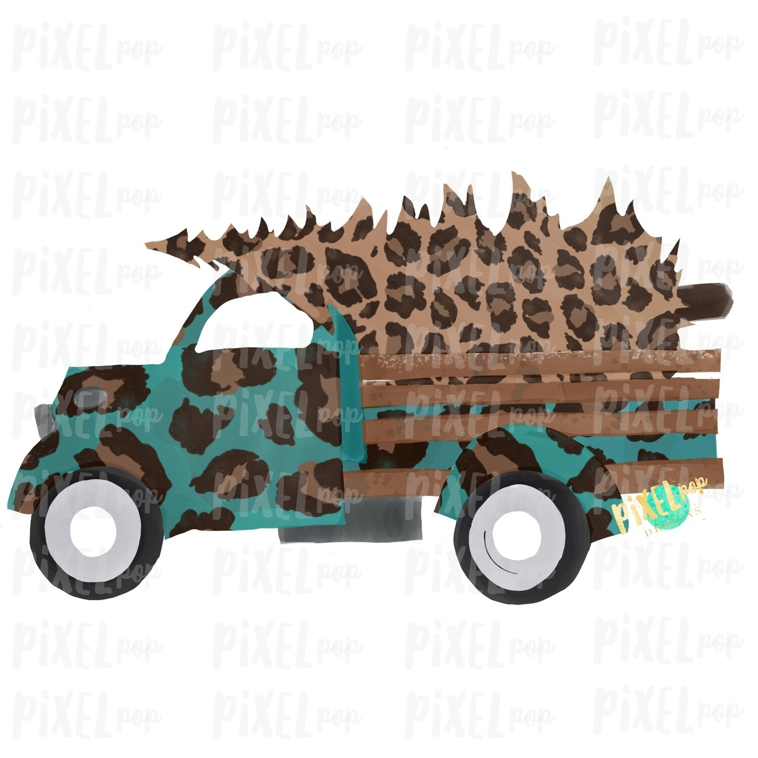 Christmas Truck Leopard Sublimation PNG | Hand Drawn Design | Sublimation PNG | Digital Download | Printable Artwork | Art