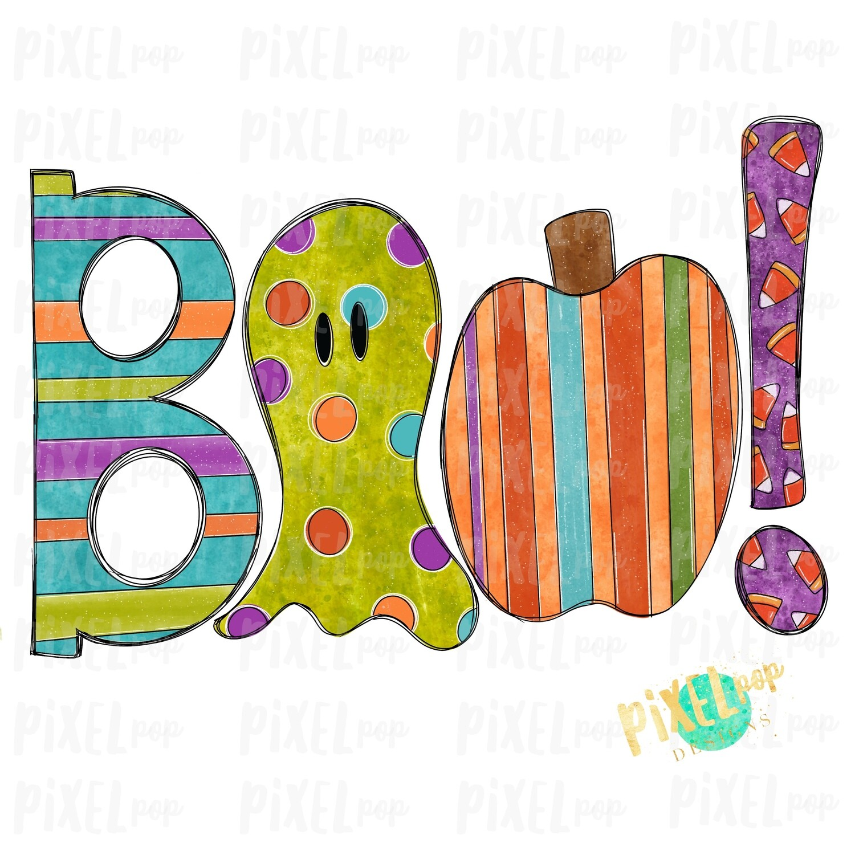 Boo! Decorative Halloween Sublimation PNG | Hand Drawn Sublimation Design | Sublimation PNG | Digital Download | Printable Artwork | Art