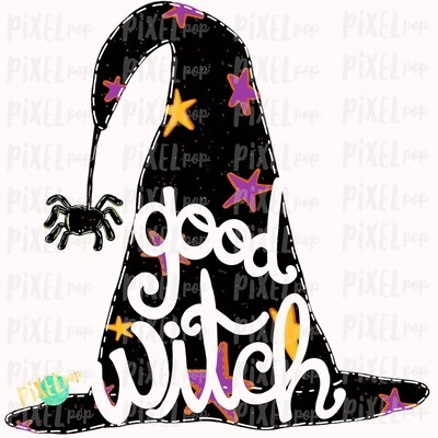 Good Witch Hat Spider Halloween Sublimation PNG | Hand Drawn Painted Design | Sublimation PNG | Digital Download | Printable Artwork | Art