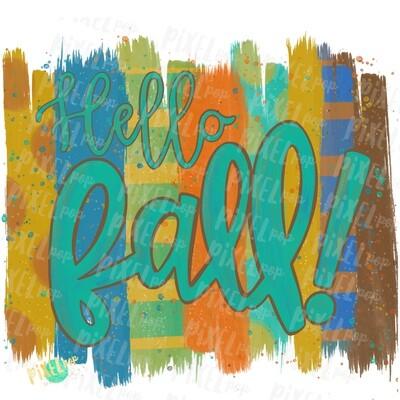 Hello Fall Brush Stroke Background Sublimation PNG | Leopard Print Background | Golden | Transfer | Digital Print | Printable | Clip Art