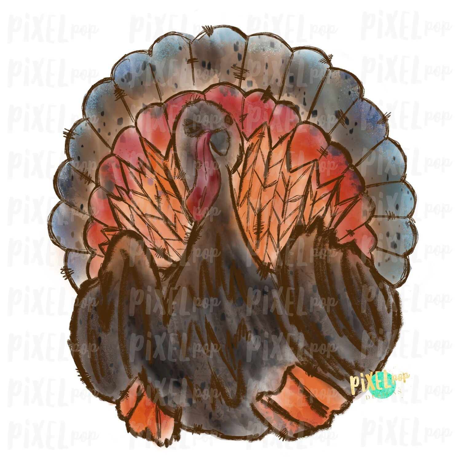 Watercolor Sketch Turkey Sublimation PNG | Hand Drawn Sublimation Design | Sublimation PNG | Digital Download | Printable Artwork | Art