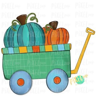 Pumpkins Wagon Cart Teal Pumpkin Patch Sublimation | Hand Drawn Sublimation Design | Sublimation PNG | Digital Download | Printable Artwork | Art