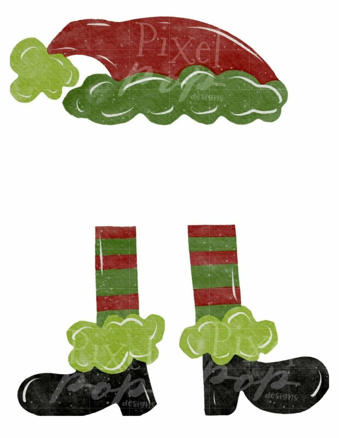Santa Hat Legs Boots Digital Watercolor Sublimation PNG | Hand Drawn Design | Sublimation PNG | Digital Download | Printable Artwork | Art