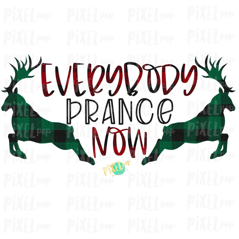 "Reindeer ""Everybody Prance Now"" Buffalo Plaid Sublimation PNG | Reindeer PNG Art | Hand Drawn Design | Digital Download | Printable Artwork | Art"