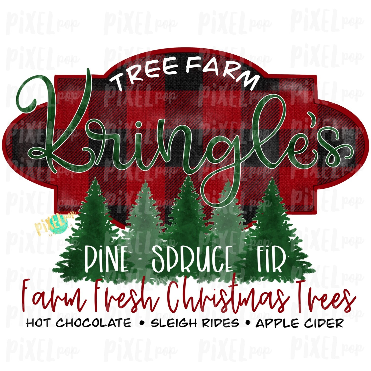 Kringle's Christmas Tree Farm Watercolor Sublimation PNG | Tree Farm Art | Hand Drawn Design | Digital Download | Printable Artwork | Art