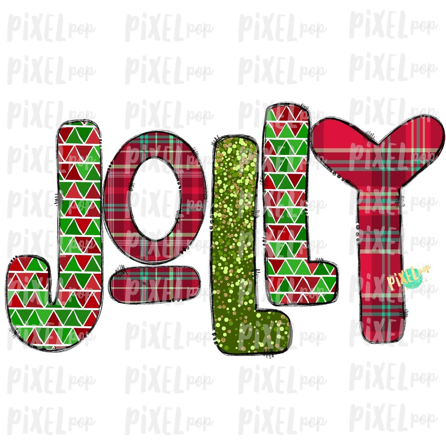 Jolly Christmas Plaid Patterened Word Sublimation PNG | Tree Farm Art | Hand Drawn Design | Digital Download | Printable Artwork | Art