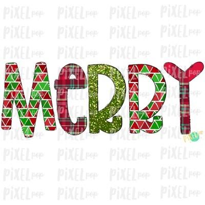 Merry Christmas Plaid Patterened Word Sublimation PNG | Tree Farm Art | Hand Drawn Design | Digital Download | Printable Artwork | Art